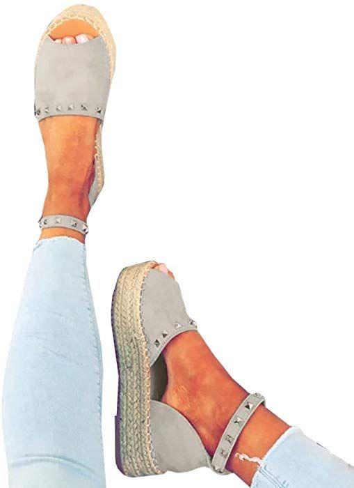 5f6b2d3443883 Amazon.com: Women's Ankle Wrap Espadrille Flatform D'orsay Open Toe ...