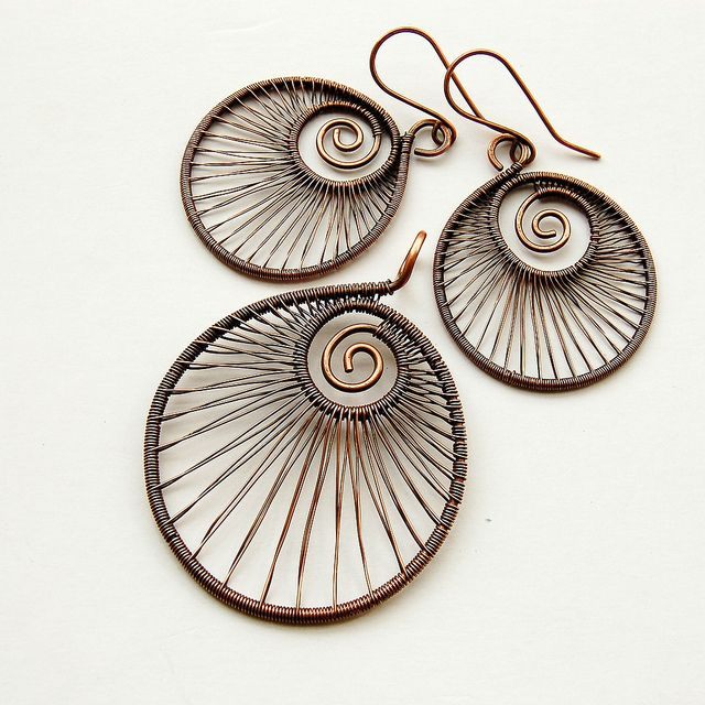 spiraling wire wrapped earrings and pendant