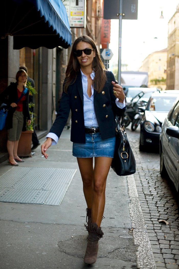 Shoes - No. Shirt and DB navy jacket - Yes. Miniskirt in denim - not sure. (Would look equally awesome with jeans in that same color. Or even dark blue.)
