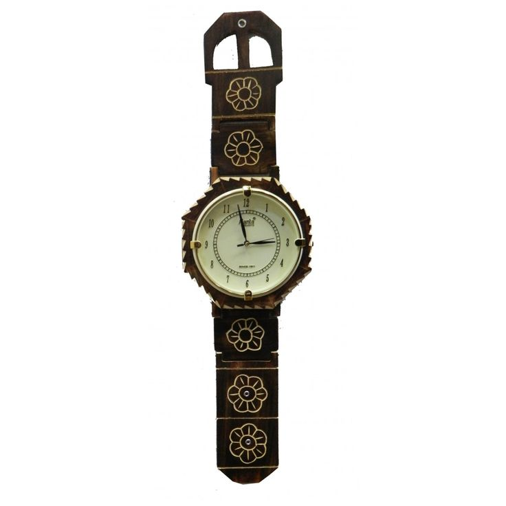 Mayur wooden brown wall clock white dial