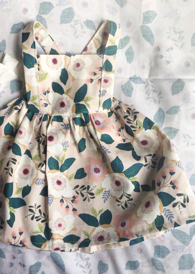 Handmade Floral Baby Toddler Pinafore Dress | CuddlyCowClothing on Etsy