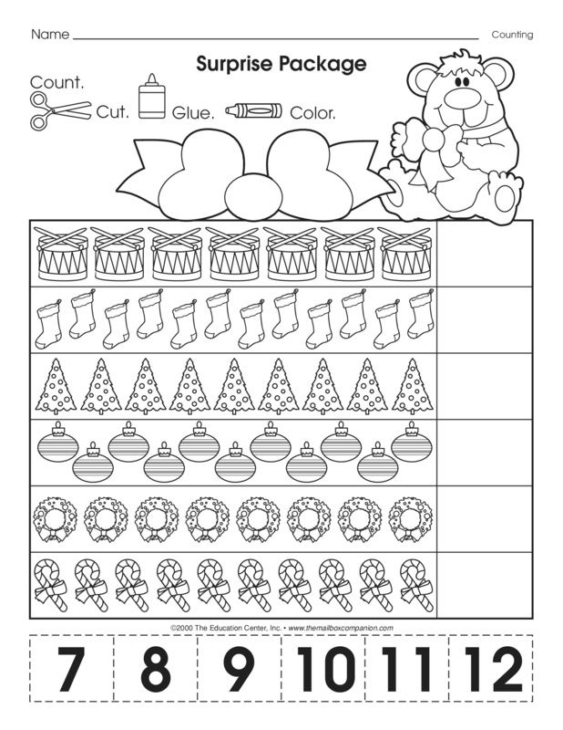 This Christmas-themed math worksheet makes counting to twelve extra fun during the month of December. The cut and glue format works fine-motor skills too! A freebie from TheMailbox.