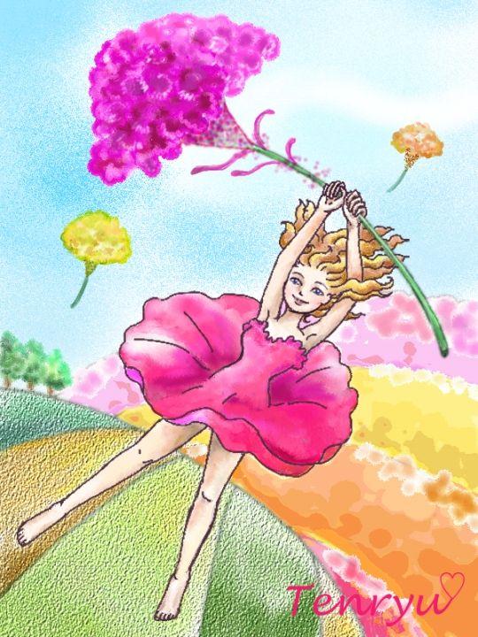 空を飛ぶ (イラスト・色々/ケイトウの花) - だいじょうぶ