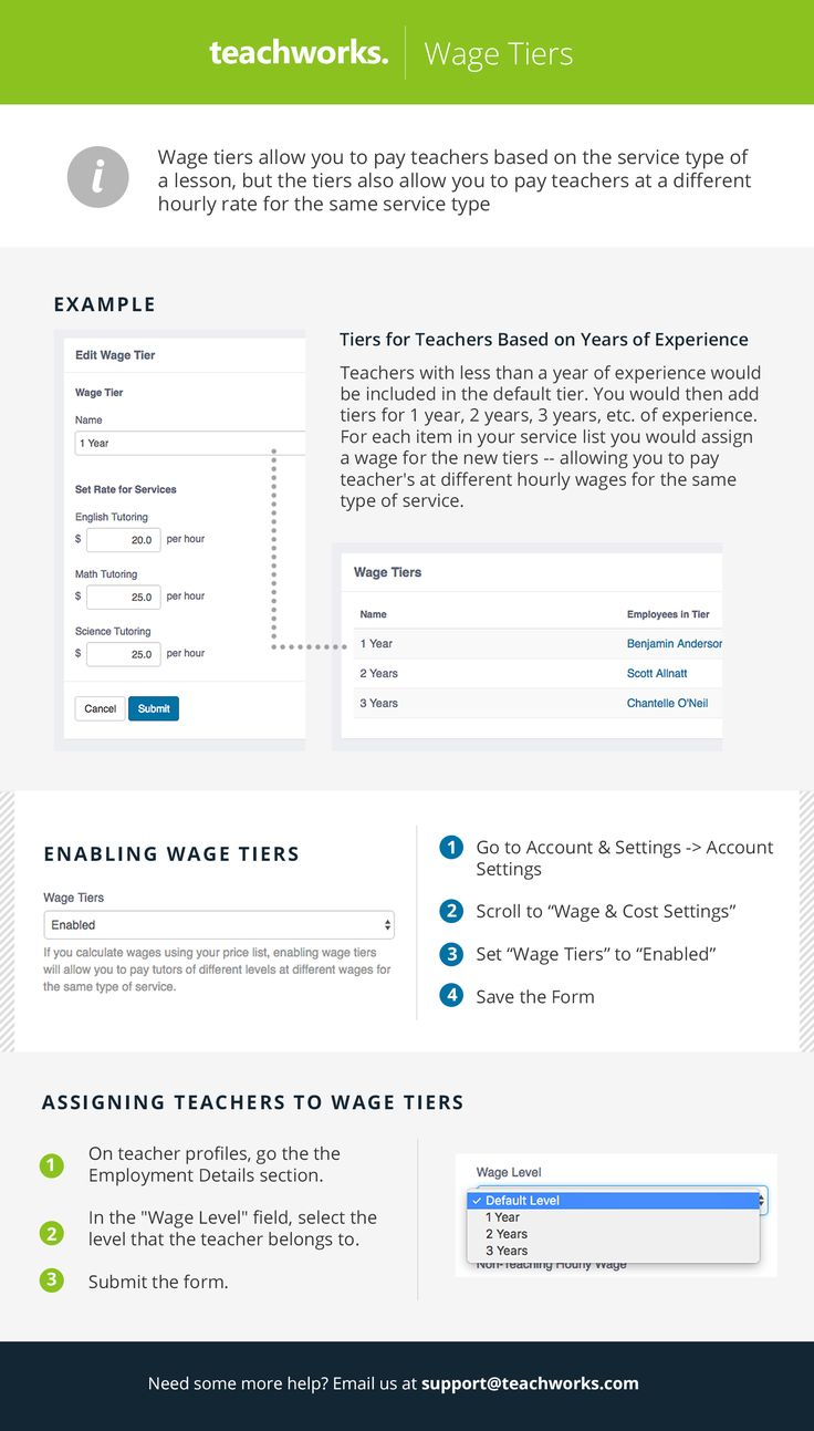 Teachworks supports a variety of teacher wage methods including setting an hourly wage on the teacher's profile or setting an hourly wage based on the service type of a lesson.  An additional option is to set up wage tiers. Wage tiers allow you to pay teachers based on the service type of a lesson, but the tiers also allow you to pay teachers at a different hourly rate for the same service type.