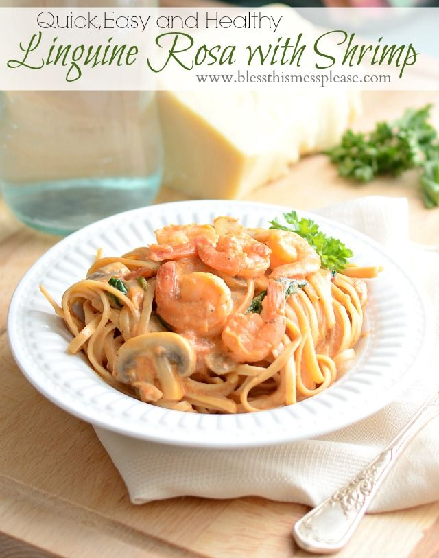 Linguine Rosa with Shrimp - done in 30 minutes, clean and healthy, and your kids will LOVE IT!