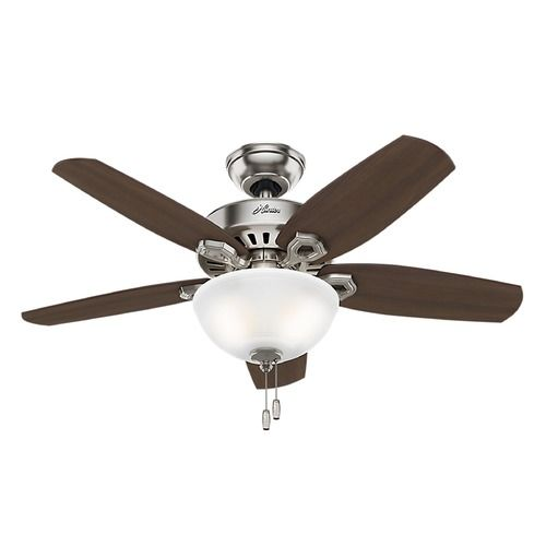 42-Inch Hunter Fan Builder Small Room Ceiling Fan with Light - Brushed Nickel Finish | 52219 | Destination Lighting