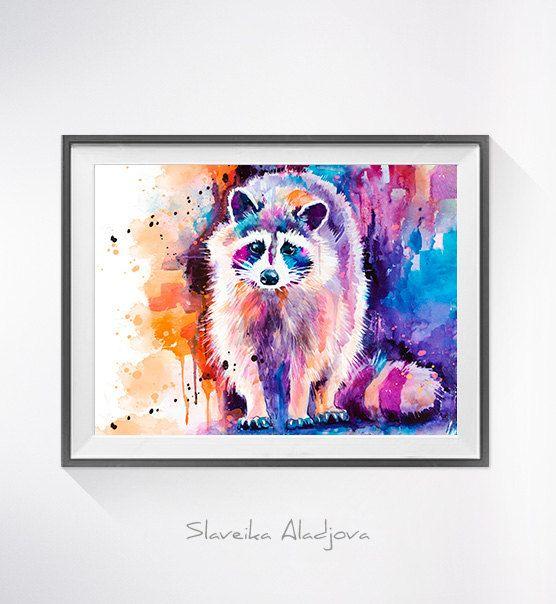 Raccoon watercolor painting print Raccoon art animal by SlaviART