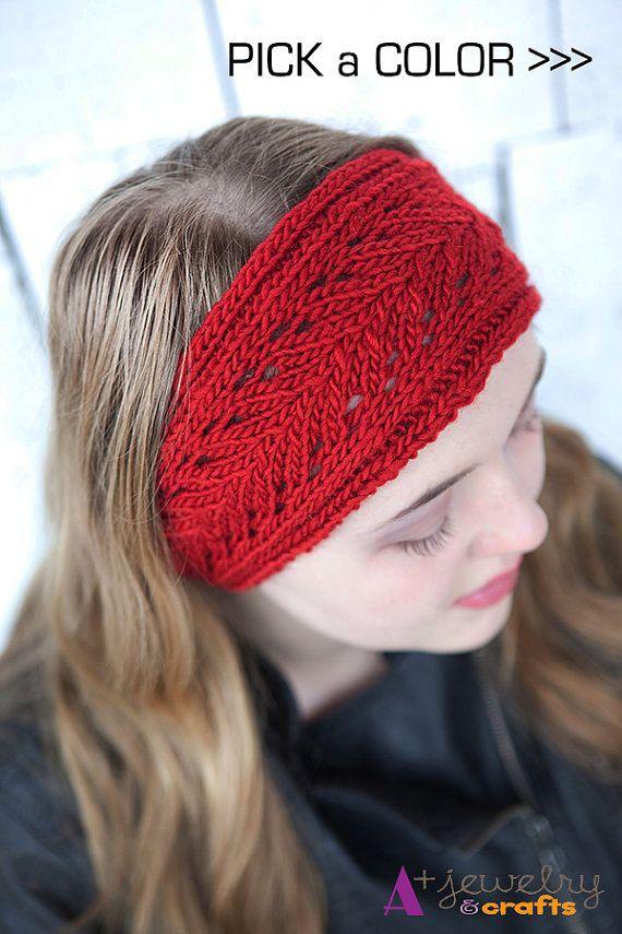 Red knit headbands headband crochet knitting by APlusJewelryCrafts, $22.00