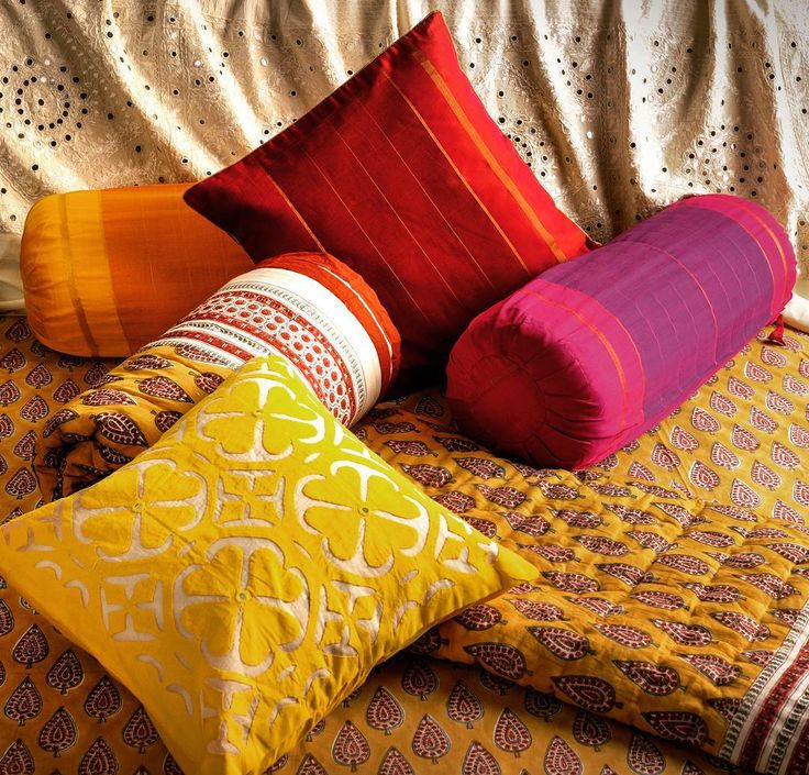 """""""#Cotton #Woven #Cushion #Bright #Yellow #Pink #Red #Orange #MultiColored #Patterns #Giftware #Home #Decor #Quilts #Applique #Mirror #Work #Blockprints…"""""""