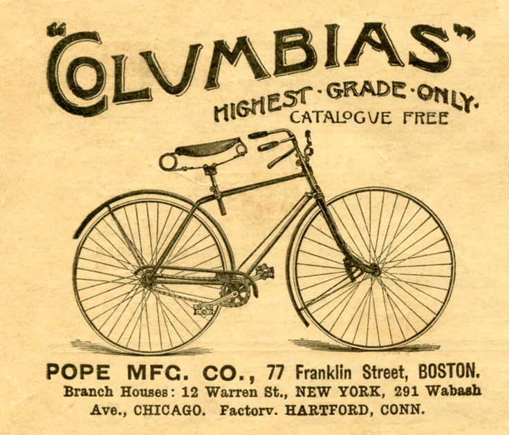 vintage advertising | Vintage Advertising Clip Art - Antique Bicycle - The Graphics Fairy