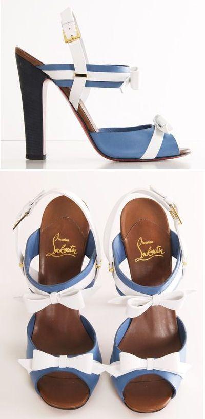Christian Louboutin Blue + White Bow Heels <3 SO cUte! #nautical