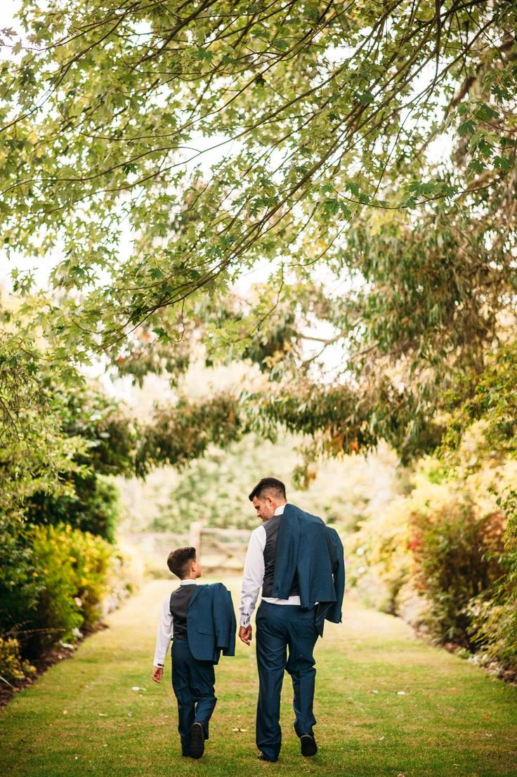 Groom & Son a.k.a The Best Man - Image by Hannah May - Lace Justin Alexander Fishtail Gown for a family orientated classic wedding with Nvy Suits, Pastel Bridesmaid dresses and a Mr & Mrs game during the speeches