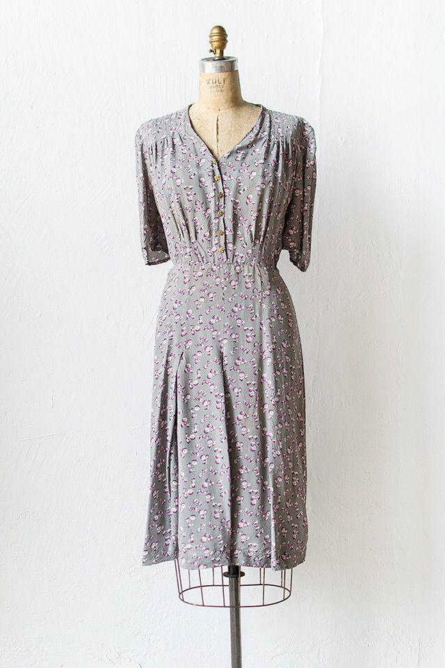 vintage 1940s grey purple bows silk rayon dress | Heather Violets Dress