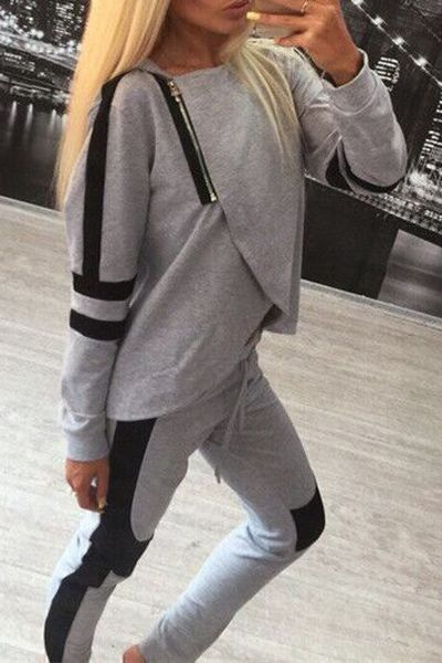 Cool asymetric look in #gray. Sporty Hooded Overlap Sweatshirt + Color Block Pants Suit