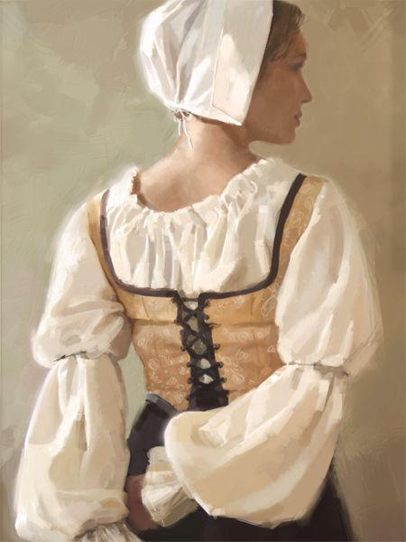 Quiet moment by charlesvinh.deviantart.com on @deviantART - I'm not 100% sure this was based off 17th century dress, but it does remind me a lot of how women were depicted in the Dutch and Flemish genre paintings of the time, so....