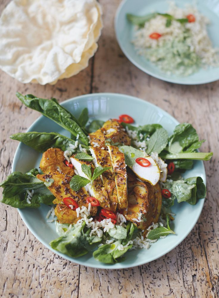 Jamie Oliver - Everyday Superfood. Bombay Chicken and Cauli Poppadoms, Rice & Spinach