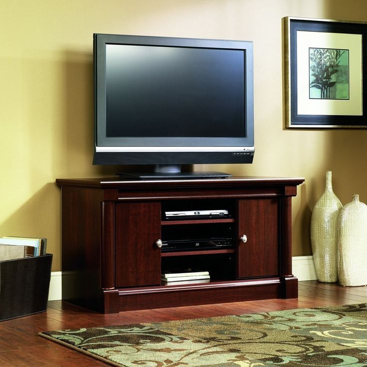 TV Stand Cherry Finish Fits Up to 50 inch televisions Hidden Dvd Cd Storage #Sauder