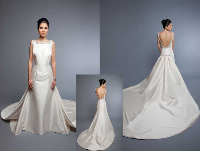 Trumpet Gown With Detachable Cathedral Length Train Bateau Neckline Plunging