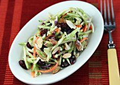 broccoli slaw salad with cranberries, almonds, and yogurt dressing