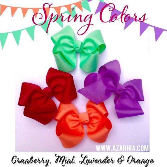 Mint, Lavender, Cranberry and Orange medium boutique bows at Azarhia ...