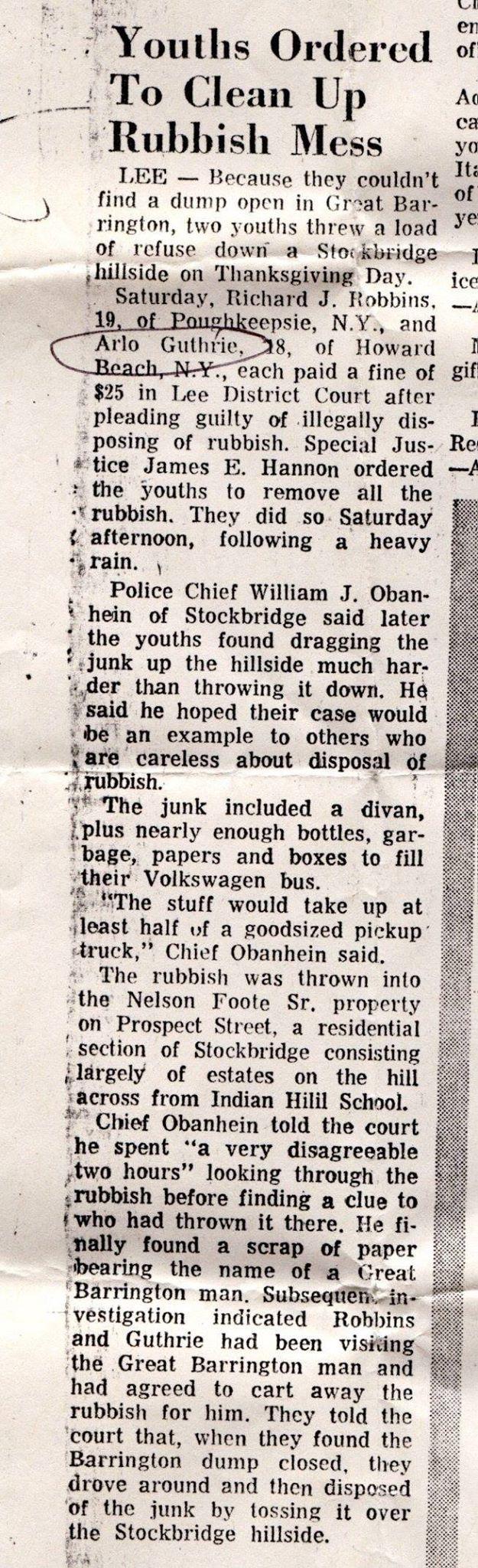 Arlo Guthrie Newspaper Article Alice S Restaurant