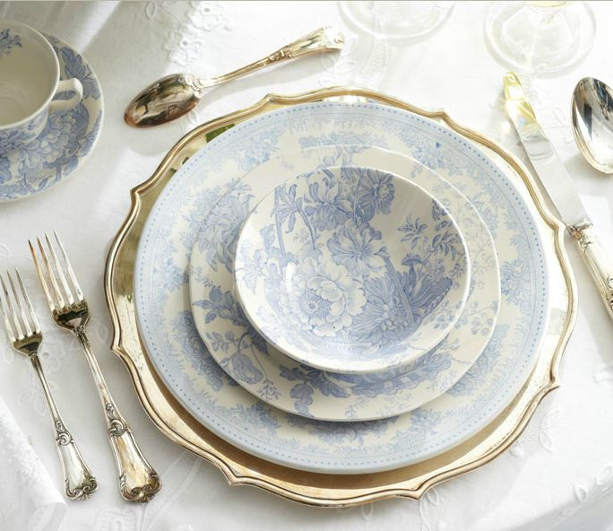 Traditional blue and white toile-inspired tabletop from Ralph Lauren Home's Watch Hill collection.