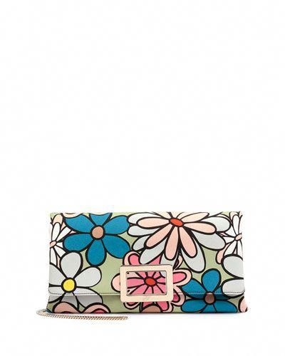 ad219e468905 V2S22 Roger Vivier Ines Floral-Print Small Pochette Bag