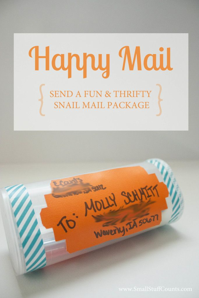 Send Happy Mail in an old crystal light container!