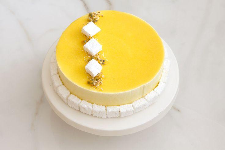 Passievruchten mousse cake, vanille en kokos