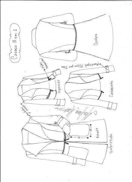 Casaco três em um | DIY - molde, corte e costura - Marlene Mukai