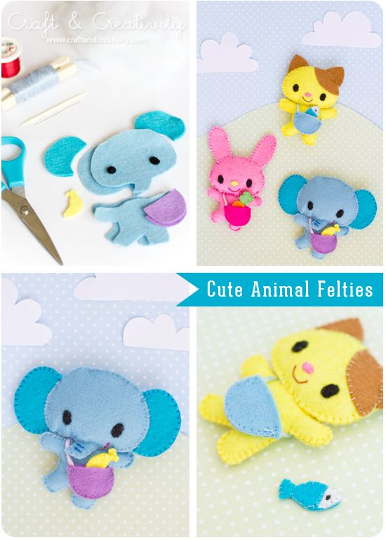 Cute animal felties by craft and creativity blog (she uses mollie makes templates - have to search for them)