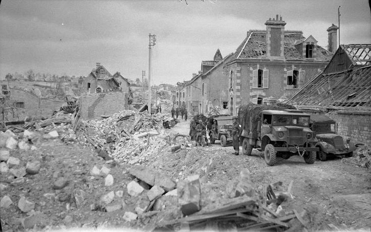 Caen, France nearly completely destroyed, 1944.