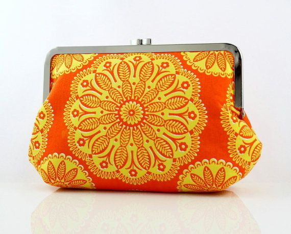 Tangerine Petal  8 inches Large Silver Frame Clutch  the by FA2U