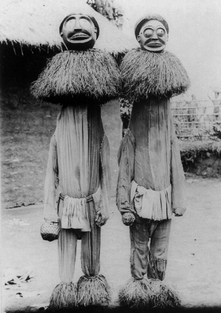 Africa | Masqueraders from the Bamum people of the Grassfields of Cameroon | prior to 1914