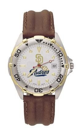"""San Diego Padres Mens MLB """"All-Star"""" Watch (Leather Band) Logo Art. $55.00. Genuine Leather Strap. 2 year warranty. Water Resistance to 100 feet"""