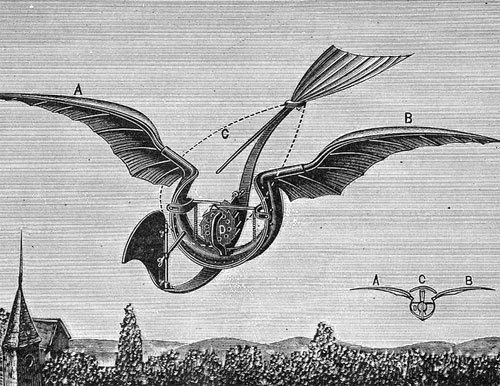 """Gustave Trouvé's """"Oiseau mécanique"""" (via) """"The ornithopter shown here was flown in 1890. Twelve gunpowder charges were fired successively into a bourdon tube to flap the wings, an unusual type of internal combustion engine. The ornithopter flew 70..."""