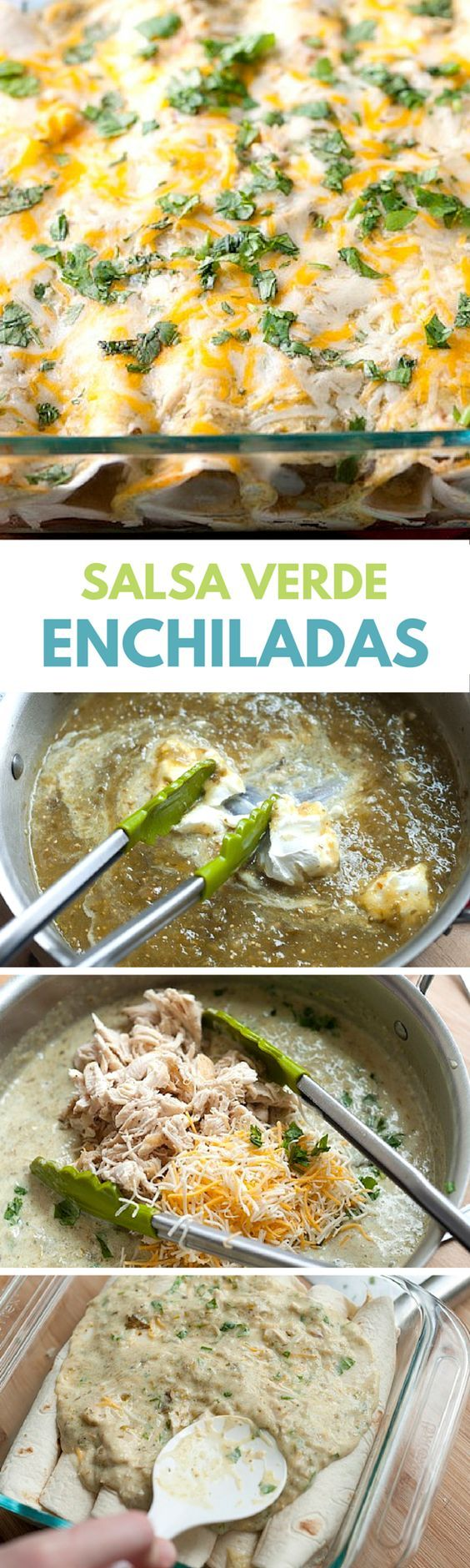 It's so simple to make this Chicken Enchiladas recipe with salsa verde, chicken, sour cream, cheese and cilantro. A quick and easy dinner! #salsa #chicken #enchiladas