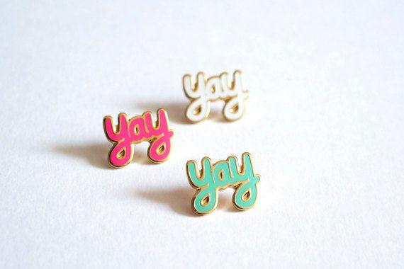 Yay Pin Badge Yay Enamel Pins Lapel Pin Brooch pin by RockCakes