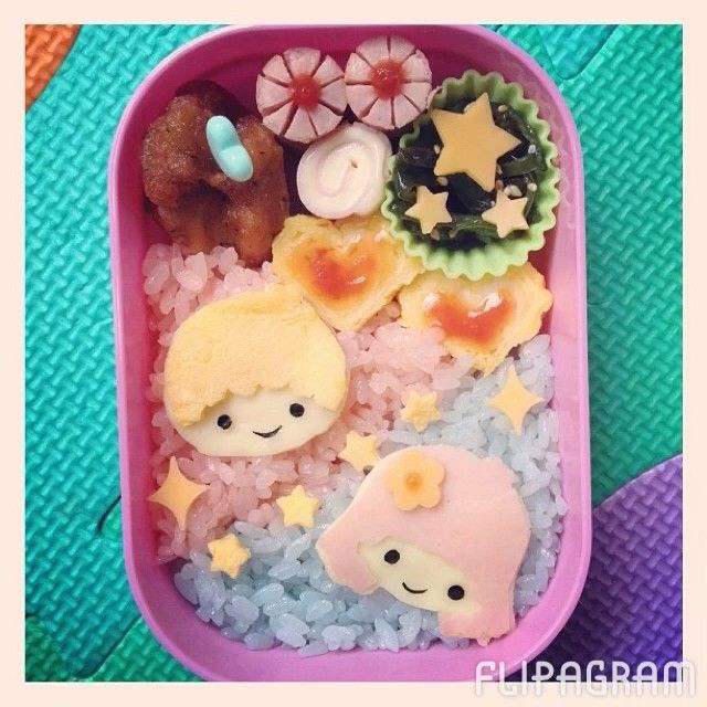My Little Twin Stars bento... Plus, photo links to a flipagram of several bentos! #twinstars #flipagram #bento