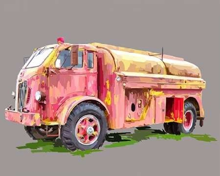 Painterly Firetruck Print by Kalina .  This pop art truck depicts how a city has everything so decorated and gaudy .