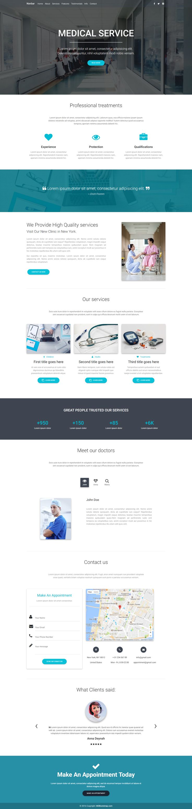 Medical Landing Page Template, perfect for businesses related to health