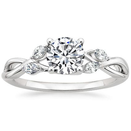 Platinum Willow Diamond Ring from Brilliant Earth with oval center diamond. I'd love to see this with a marquise...