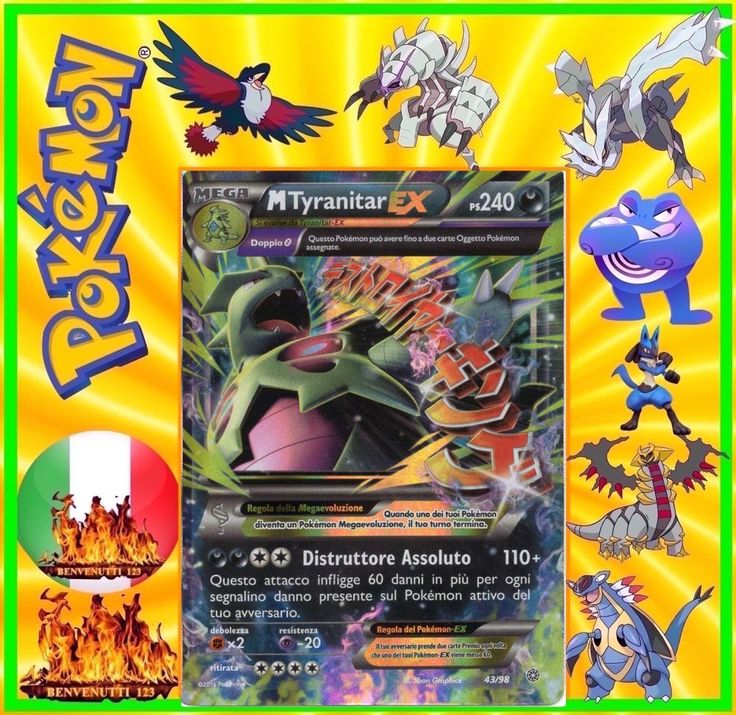 Pokemon, mega tyranitar ex, 43/98, in italiano
