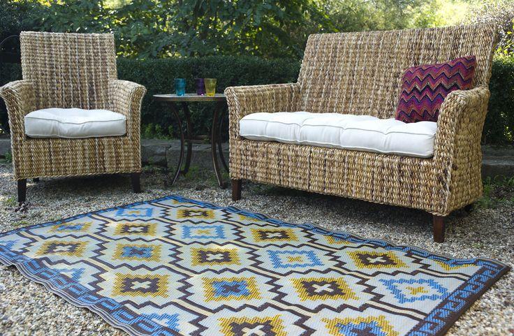 binnen & buiten oosterse kelim patronen vloerkleed blauw / bruin- 270 x 180 cm