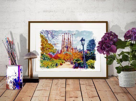 La Sagrada Familia Instant Download Barcelona Watercolor Painting
