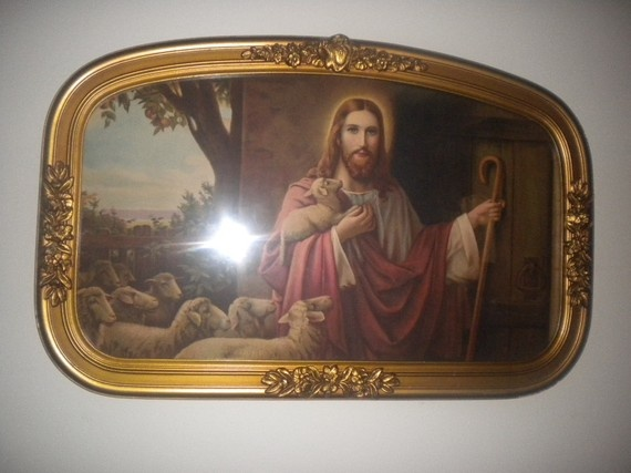 Jesus Holding Lamb And Staff Standing And Knocking At