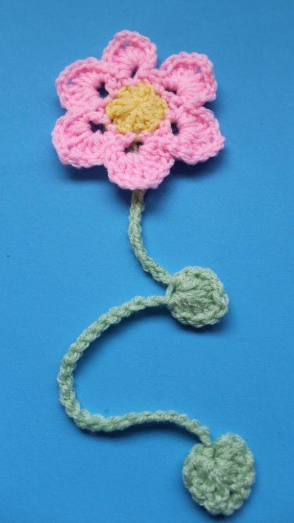 Easy to Crochet flower bookmarker (Subtitulos en Español)