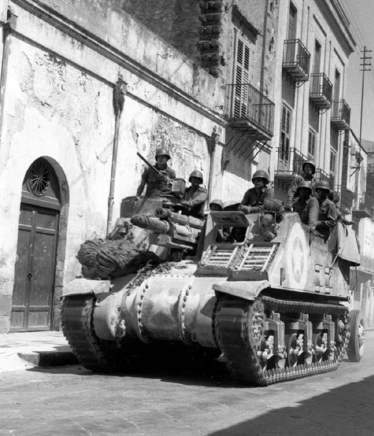 2nd Armored Division M7 Priest 105mm HMC (howitzer motor carriage), Sciacca, Sicily, 20 July 1943.