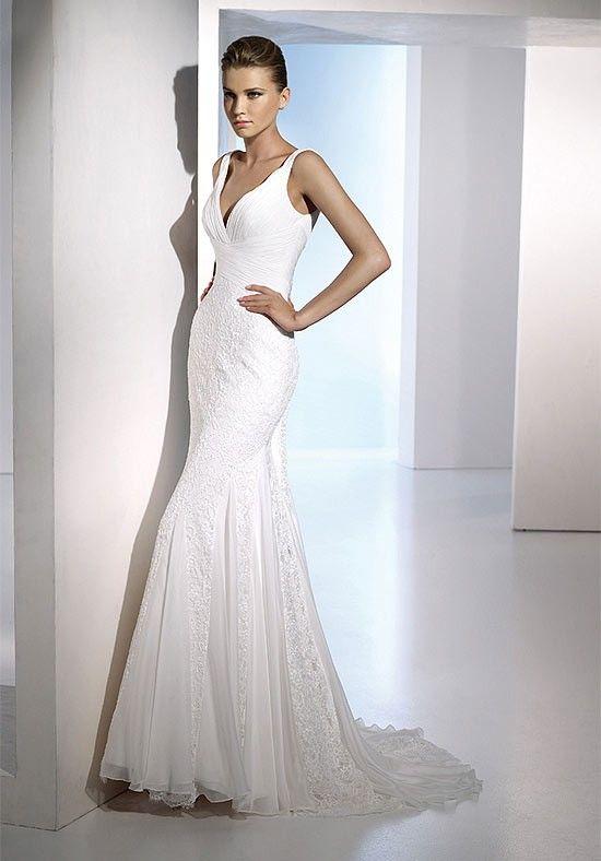 Summer Chiffon V-Neck Lace Beading Empire Mermaid Wedding Frocks - Mermaid Wedding Dresses - Wedding Dresses