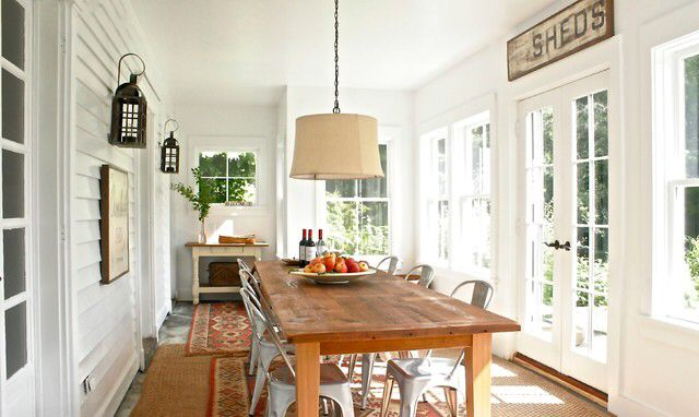 Small sunroom dining room addition - convert a screened porch to sunroom.